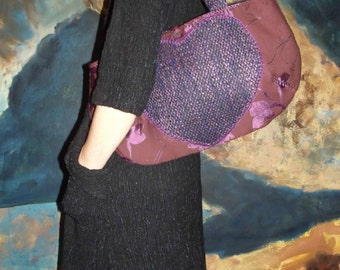 Medium Purple and Pink Shoulder Bag With Heart On the Front