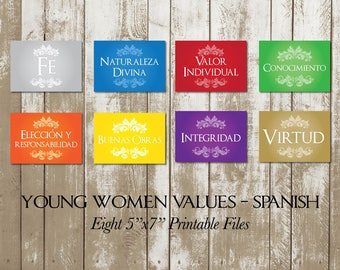 "Young Women Values in Spanish, YW Values, Eight (8) Printable 5""x7"" Digital Files"