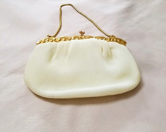 Lovely Vintage Made in Western Germany Beige Pleated Satin Evening Purse / Snake Chain/ Gold Tone