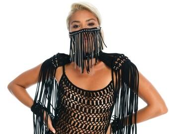 Funky Burning Man costume accessory, macrame fringe festival epaulets, cute black EDM rave outfit, flowy bohemian tassel bead shoulder top