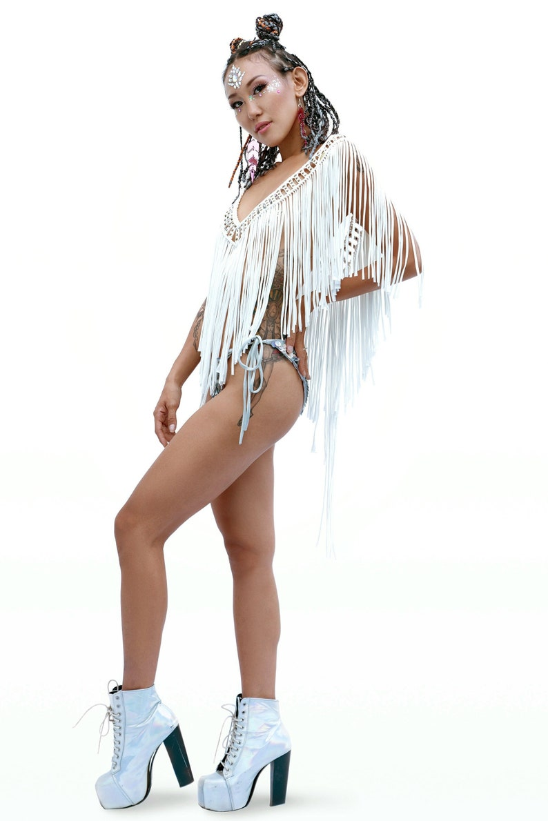 INKA Macrame Fringe Top off white  Burning man clothing  26faee815