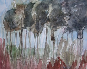 FLOWER FIELD with TREES - Landscape Watercolour - Tree Painting - English Landscape - Fine Art - ElizabethAFox