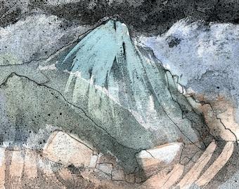 STEEPLE MOUNTAIN - Lake District UK - Encaustic Wax Original - Fine Art - Mountain Scenery - Landscape Painting -ElizabethAFox
