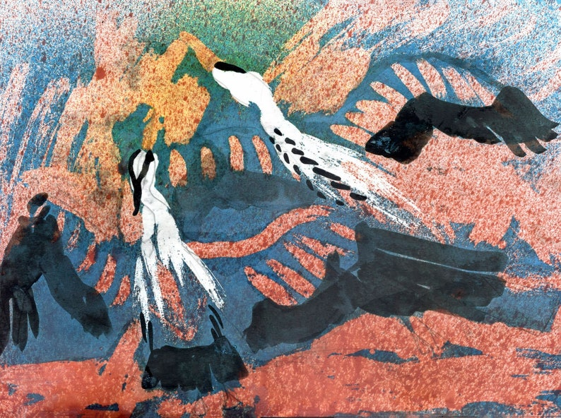 ElizabethAFox Two Herons Bird Series 1 Nature Painting Bird Painting Wax Encaustic