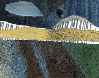 Abstract Landscape - AND THE RAIN..... - Collage and Acrylic Abstract - Contemporary Fine Art - ElizabethAFox