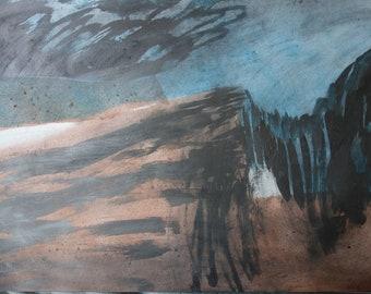 BLUE RIDGE  - Large Drawing -  Ink and Graphite - Landscape - Isle of Skye - Fine Art - ElizabethAFox