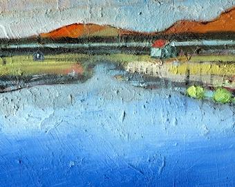 Oil Painting on Canvas, Iceland House, Iceland Picture, Landscape Painting, Fine Art, ElizabethAFox