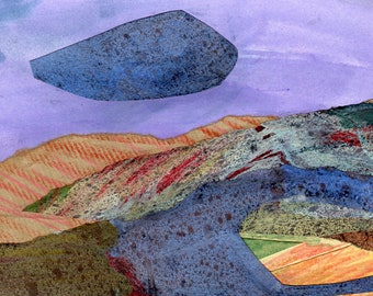 Abstract Landscape - MOUNTAIN CLOUD - Collage and Acrylic Abstract - Contemporary Fine Art - ElizabethAFox