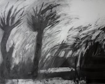 KEW STORM - Large Drawing - Graphite -Garden Art - London Drawing - Fine Art - ElizabethAFox