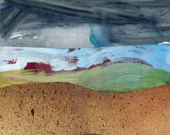 Abstract Landscape - RED STORM FIELD - Collage and Acrylic Abstract - Contemporary Fine Art - ElizabethAFox