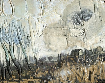 MIDWINTER VILLAGE - Original Oil Painting - Fine Art - Modern Painting - ElizabethAFox - Meadow Painting Winter