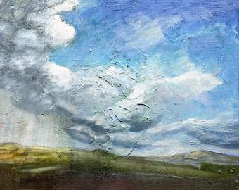 Landscape Oil Painting, Yorkshire Storm Cloud 2, Original Oil Painting, Fine Art, Cloud Picture, ElizabethAFox, Moorland Picture