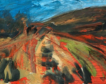 Iceland Painting, Red Green Land, Abstract Painting, Original Oil, ElizabethAFox, Fine Art, Landscape Oil