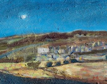MOONLIT FARM YORKSHIRE -  Original Oil Painting - Fine Art - Modern Painting - ElizabethAFox - Moorland  Painting