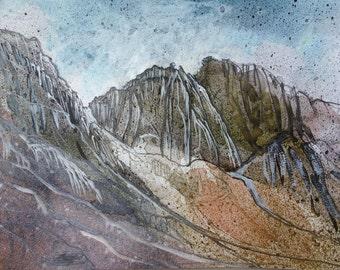 PULPIT ROCK: Scafell Crag - English Lake District - Watercolour Original - Fine Art - Mountain Scenery - Landscape Painting -ElizabethAFox