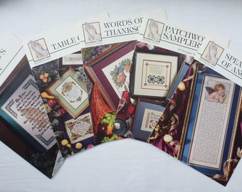 Embroidery charted designs, Lords Prayer, Words of Thanksgiving, Speaking of Angels, Table Graces, Patchwork Samplers, by Praying Hands