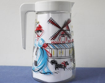 Wonderful vintage glass French pitcher, Paris scene, Moulin Rouge, 1970s retro cool serving jug, plastic handle and top