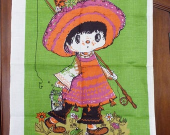 Super kitsch, girl going fishing, unused vintage tea towel, linen, cotton