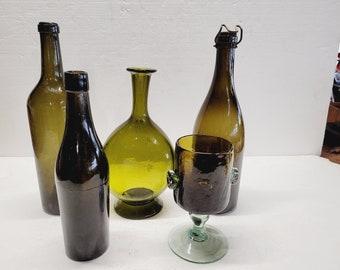 Vintage Black Glass 5 Piece Collection