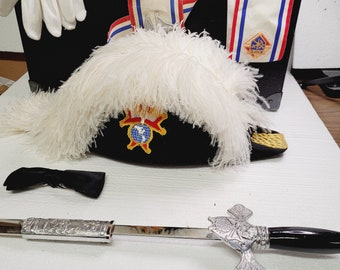 Vintage Knights of Columbus Dress Garments and Sword with Cases