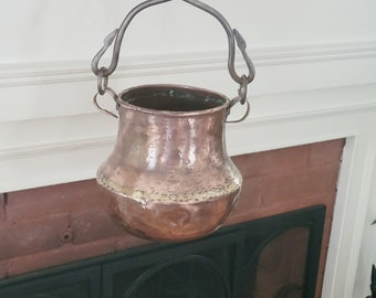 Vintage Handmade Copper Hanging Planter with Cast Iron Support and Hook