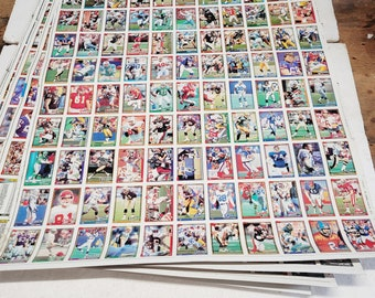 Vintage Uncut 1991 Football Cards - 5 Sheets