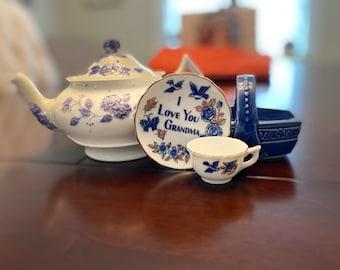 Vintage Tea Pot, Ceramic Basket, Miniature Tea Cup