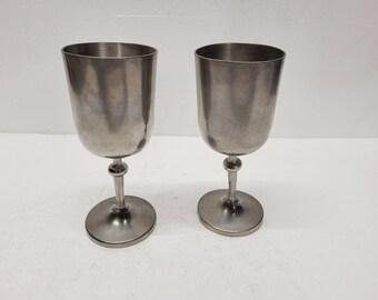 Pair of Vintage Old Newbury Pewter Wine Goblets