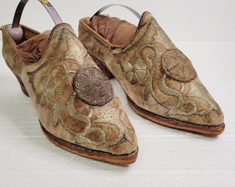 Antique Woman's Tapestry Shoes 1930's