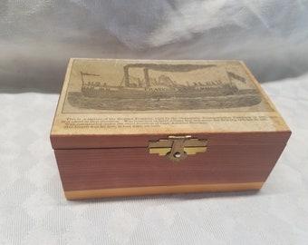 Vintage Trinket Box with Original Article of Franklin Steamer Built By Champlain Transportation Co. 1827