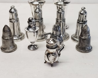 Silver, Pewter Salt and Pepper Shakers Vintage Collection