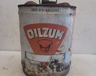 Vintage Oilzum 5 gallon Oil Can