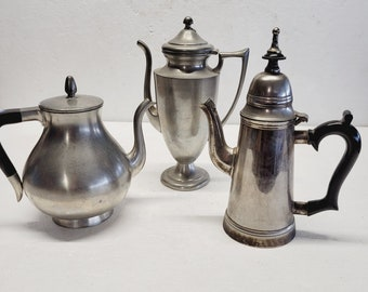 Vintage Tea Pot Pewter Set