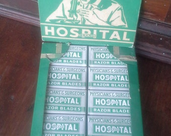 Antique Vintage Razor Blade Store Display - NEW OLD Stock Sealed Hospital Brand Collectible