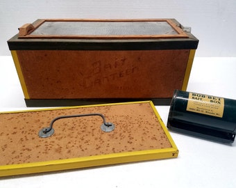 Vintage OBERLIN Bait Canteen & Bob Bet Bait Box