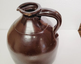 Vintage Brown Stoneware Jug with Pouring Spout