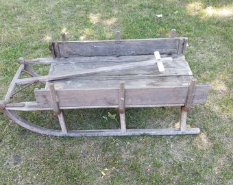 Antique Wooden Pull Work Sled with Recoverable Sides 1800's - Pick up only