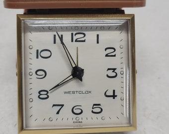 Vintage Small Westclock Travel Alarm Wind Up Clock