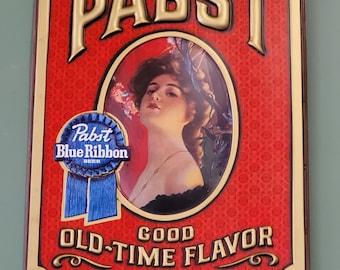 Vintage Pabst Blue Ribbon Old Time Flavor Sign