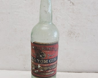 Antique Tom Gin Bottle with Paper Label 1906