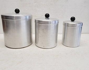 Vintage 3 piece Aluminum Canister Set