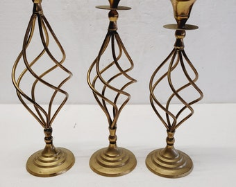Vintage Set of 3 Brass Modern Candle Holders