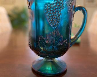 Vintage  1950's Peacock Blue Carnival Glass Harvest Grape Pitcher