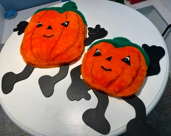 Vintage Plush Jack-o'-lanterns - Halloween Decor (2)