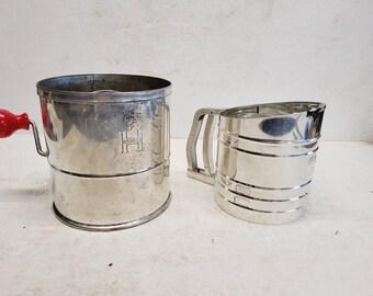 Vintage Set of 2 Flour Sifters