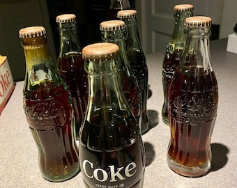 Original FILLED, Unopened Antique 8 pack Coca Cola, Schweppes and Pepsi Bottles
