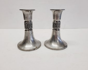 Vintage Pair of Quentin Pewter Candlestick Candle Holders