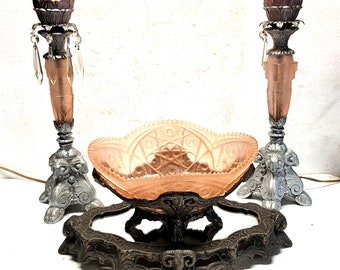 Antique Art Nouveau Brass Console Pink Crystal Lamp Set with Matching Mirror Stand and Bowl