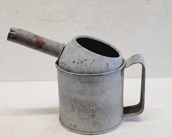 Small Vintage Galvanized Oil Fillier Can