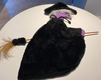 Vintage Plush Flying Witch Wall Hanging